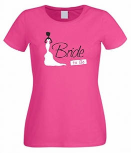 Junggesellenabschied Damen/Girlie T-Shirt Motiv Bride to be pink S - 1
