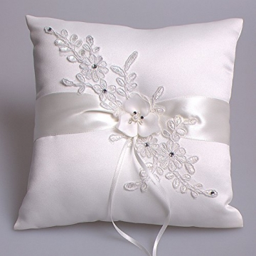 Hochzeit Ringkissen Kissen with Embroider Flower with Faux Pearl 21cm*21cm---Ivory - 1