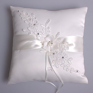 Hochzeit Ringkissen Kissen with Embroider Flower with Faux Pearl 21cm*21cm---Ivory - 2
