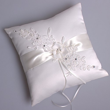 Hochzeit Ringkissen Kissen with Embroider Flower with Faux Pearl 21cm*21cm---Ivory - 3