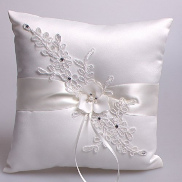 Hochzeit Ringkissen Kissen with Embroider Flower with Faux Pearl 21cm*21cm---Ivory - 4