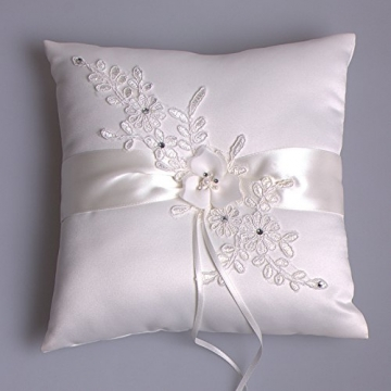 Hochzeit Ringkissen Kissen with Embroider Flower with Faux Pearl 21cm*21cm---Ivory - 5