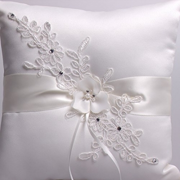 Hochzeit Ringkissen Kissen with Embroider Flower with Faux Pearl 21cm*21cm---Ivory - 6